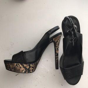 Jessica Simpson Black Snakeskin Peep Toe Heels